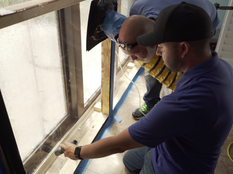 Building Envelope Forensic Investigations Team assessing water leakage